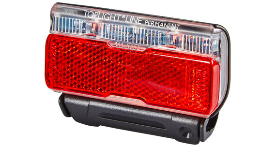 B&M Toplight Line permanent Batteri Baglygte 50 mm sort/rød